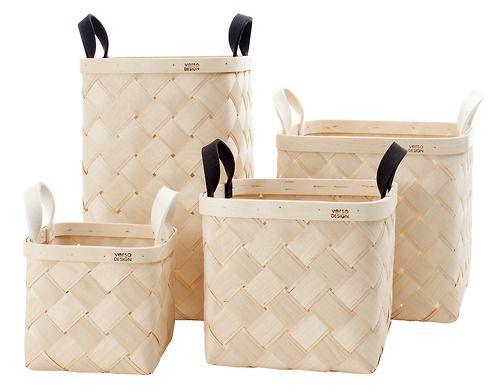 Woven birch baskets with wool felt handles - Verso Design