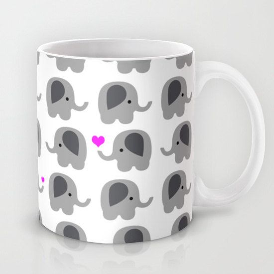 Coffee Mug Elephants with Hearts Elephant by ShelleysCrochetOle