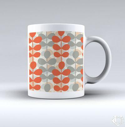 Sell Orla Kiely Inspirate orange patern design White Mug cheap and best quality. *100% money back guarantee