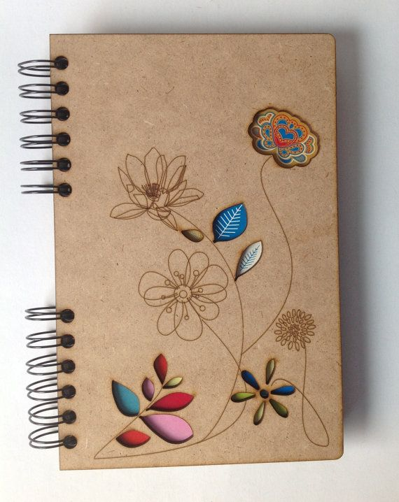 A5 Cuaderno Personalizado de Madera Flores de Primavera.