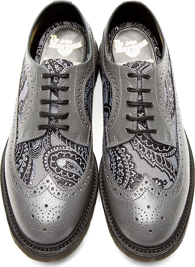 Dr. Martens: Grey Leather Paisley Longwing Brogues (Love Love Love!!)