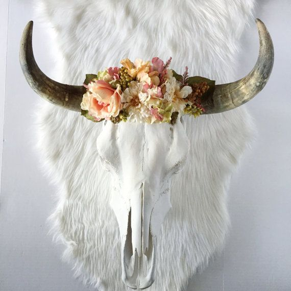 Coral Blossom Steer Skull. This steer skull is the perfect combination of soft yet bold and will add a dramatic pop of southwestern bohemian