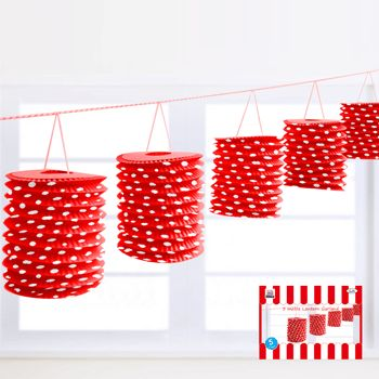 Polka Dot Lantern Garland - Red