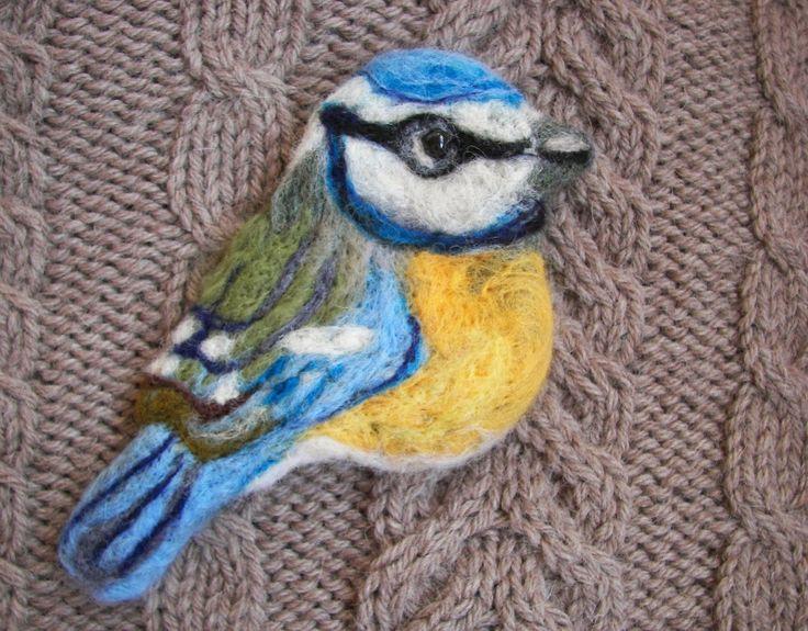 Broszka sikorka - Blue tit brooch