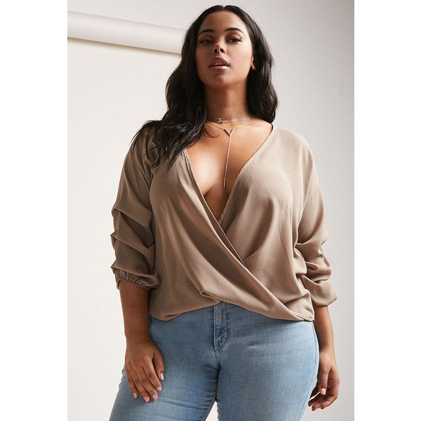 Forever21 Plus Size Plunging Surplice Top ($28) ❤ liked on Polyvore featuring plus size women's fashion, plus size clothing, plus size tops, camel, brown top, plunge-neck tops, camel top, cross over top and chiffon sleeve top