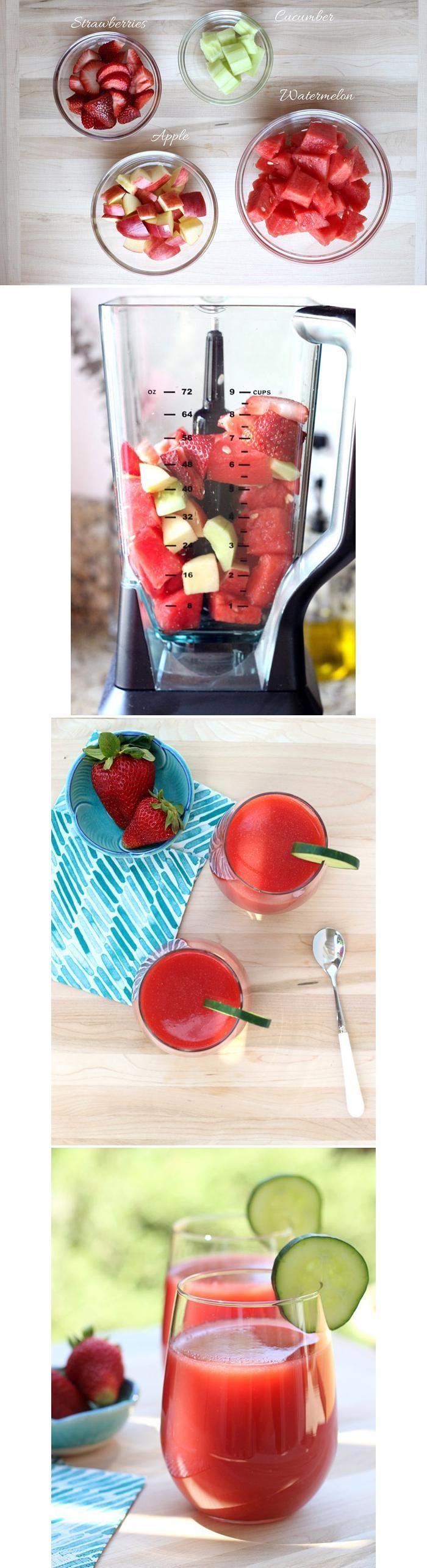Pepino, fresas, sandía y manzana roja:
