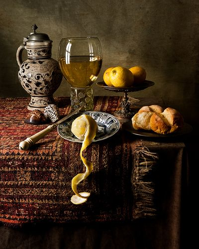 Willem Kalf (Dutch, 1619–1693). CERAMICS :  the jug, German stoneware 17th century, the plate is Chinese, late Ming Kraakware c.1600-1640.