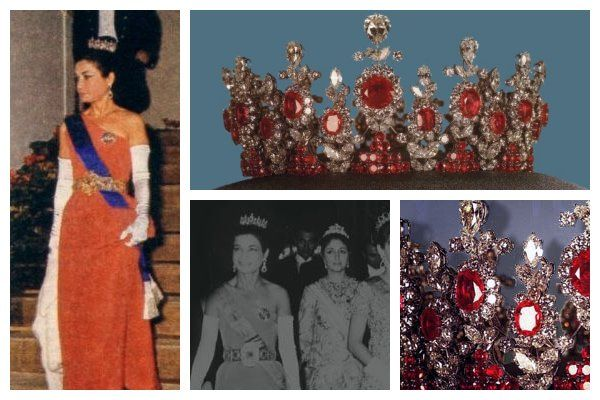 Princess Ashraf Pahlavi Ruby Tiara. Owned by Princess Ashraf of Iran, twin sister of the last Shah. Worn at her brother's coronation in 1967, it was made in France by Van Cleef & Arpels. Ashraf was 1 of the 1st female members of the imperial family to appear unveiled & served as a delegate to the UN. Along with the rest of the Pahlavi family, she left Iran following the 1979 revolution. Her ruby tiara remained in Iran, part of the exhibition of Iran's crown jewels at the Central Bank in…