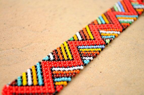 Red African braceletZigzag beaded braceletEthnic by akwaabaAfrica