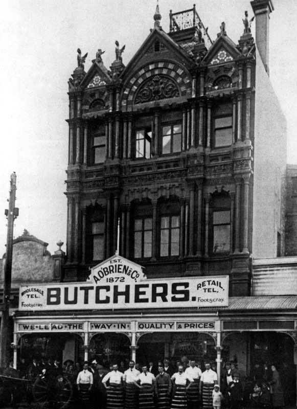 O'Brien & Co Butchers in Nicholson street  Footscray ~ 1910