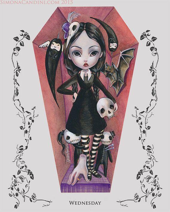 Mercredi cercueil parti LIMITED EDITION impression signée numérotée Simona Candini gothique du vampire fantasy lowbrow art Halloween de la famille Addams