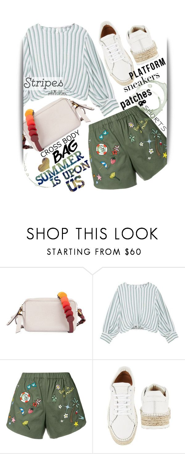 """""""Unbenannt #641"""" by maranella ❤ liked on Polyvore featuring Anya Hindmarch, MANGO, Mira Mikati, rag & bone, stripes, shorts, patches and platformsneakers"""