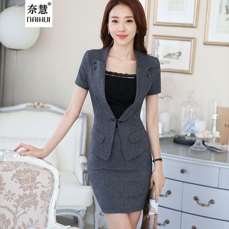 2016 donne di estate affari abiti da cerimonia ufficio vestiti di pannello esterno elegante  Abbigliamento da lavoro 2 pezzo impostare un tasto disegni uniformi blazer  Vestito(China (Mainland))