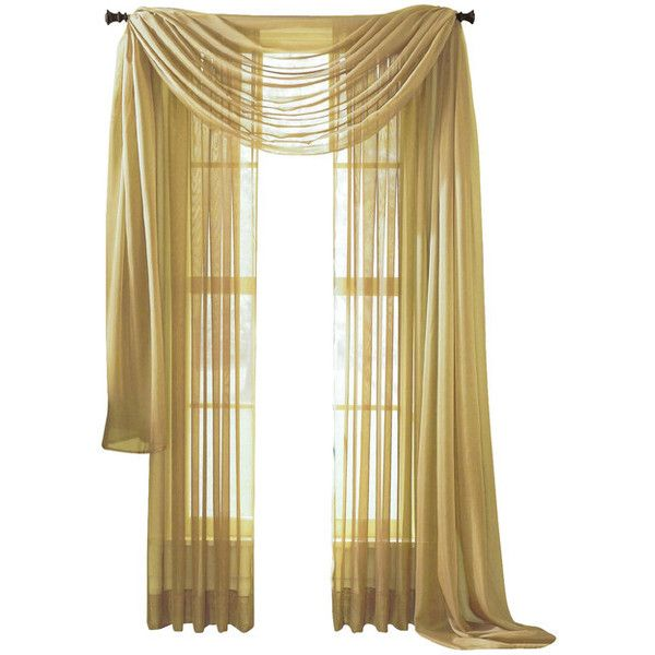 """Sheer Voile 216"""" Long Window Scarf Swag - Traditional - Valances - by... ❤ liked on Polyvore featuring home, home decor, window treatments, curtains, traditional curtains, traditional home decor, traditional window treatments, voile valance and sheer draperies"""