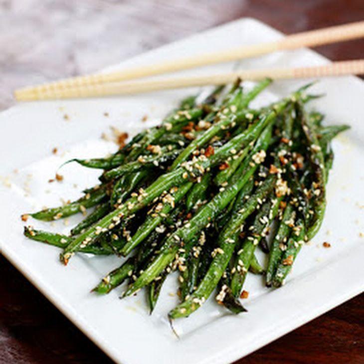 Sesame Garlic Green Beans Recipe Side Dishes with fresh green bean, coconut oil, minced garlic, sesame oil, toasted sesame seeds, salt, pepper
