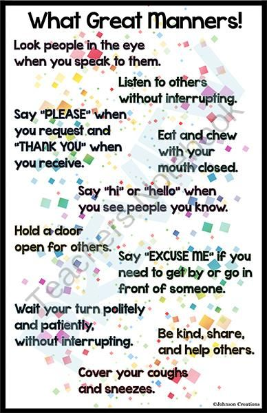 "What Great Manners! Poster from Johnson Creations on TeachersNotebook.com -  (2 pages)  - This FREE and very colorful poster is 11"" x 17"". Hang it in your classroom and review it often with your students to see improved manners in your classroom!"