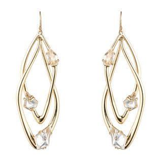 Gold Liquid Crystal Orbiting Earring