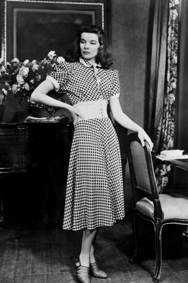 7. Katharine Hepburn, 1940 Katharine rocks a gingham dress and cinched-in waist on the set of The Philadelphia Story in 1940