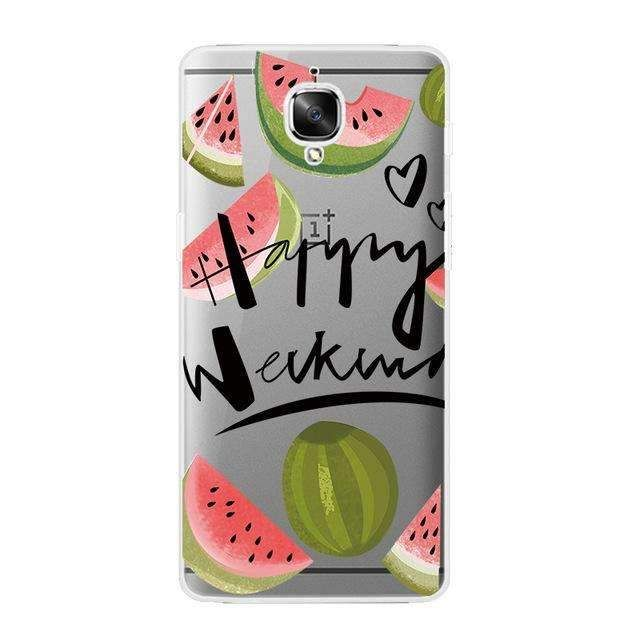 For OnePlus 3 Phone Case for One Plus 3 Transparent OnePlus 3T Shell Ultra Thin Cover Watermelon Fruit Pattern Capa Gel