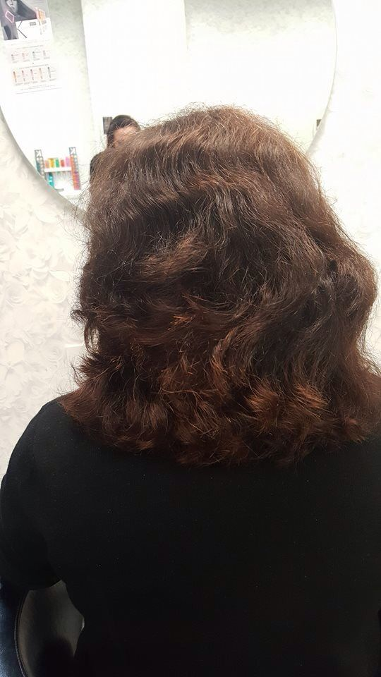 I had this lovely client come in this week for a chemical straightening. As you can see her hair was quite wavey . Now that she has had her straightened thus will make her hair more manageable and frizz free. This is a great service to have done with summer just around the corner. Come in and see Ang who is our straightening specialist if you think this service maybe for you.