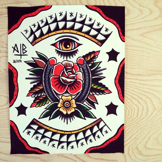 11x14 Traditional Horseshoe Rose Tattoo Flash Print