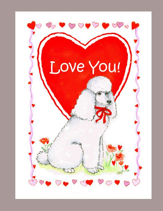 White Poodle Valentine Card by Judzart on Etsy