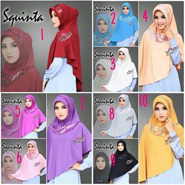 Hijab Instan Bergo Squinta Model Kekinian 2017 Terbaru dengan aksesoris sequin di pinggir pet serta di bagian depan. Cantik dan modern namun tetap syar'i.