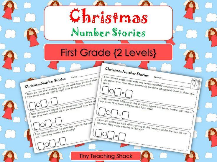 First grade math FREEBIE (Christmas stories)