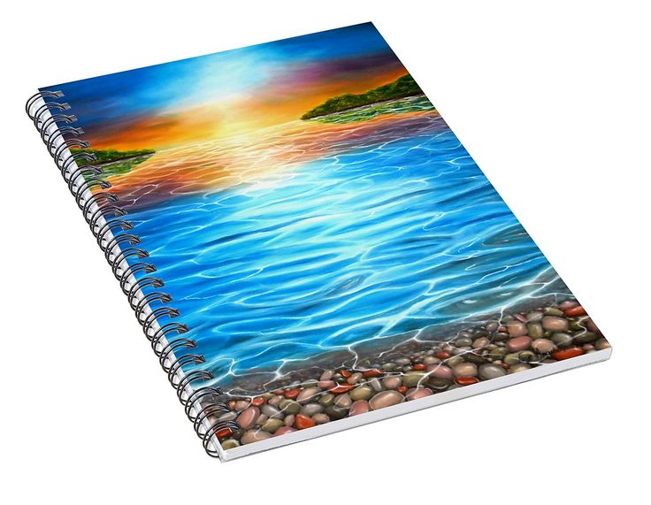 Spiral Notebook,  stationery,school,supplies,cool,unique,fancy,trendy,awesome,beautiful,design,unusual,modern,artistic,for,sale,items,products,office,organisation,coastal,sunset,blue,colorful
