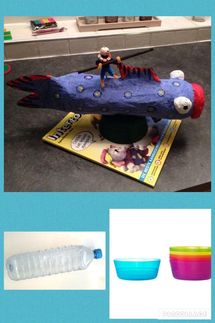 Surprise vis   Wat heb je nodig; - lege fles, bakje Ikea (of soort gelijk bakje), schaar, behangerslijm, stukjes wc. Papier, verf, pijpenragers, letterkraaltjes, stokje, vissersdraad, lijm.