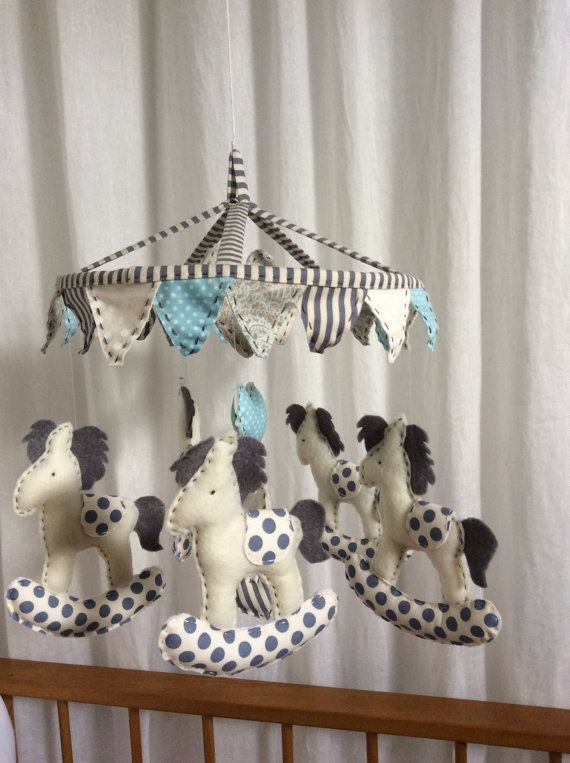 Baby Boy or Girl Nursery Hanging Mobile  Rocking by myheartnhands