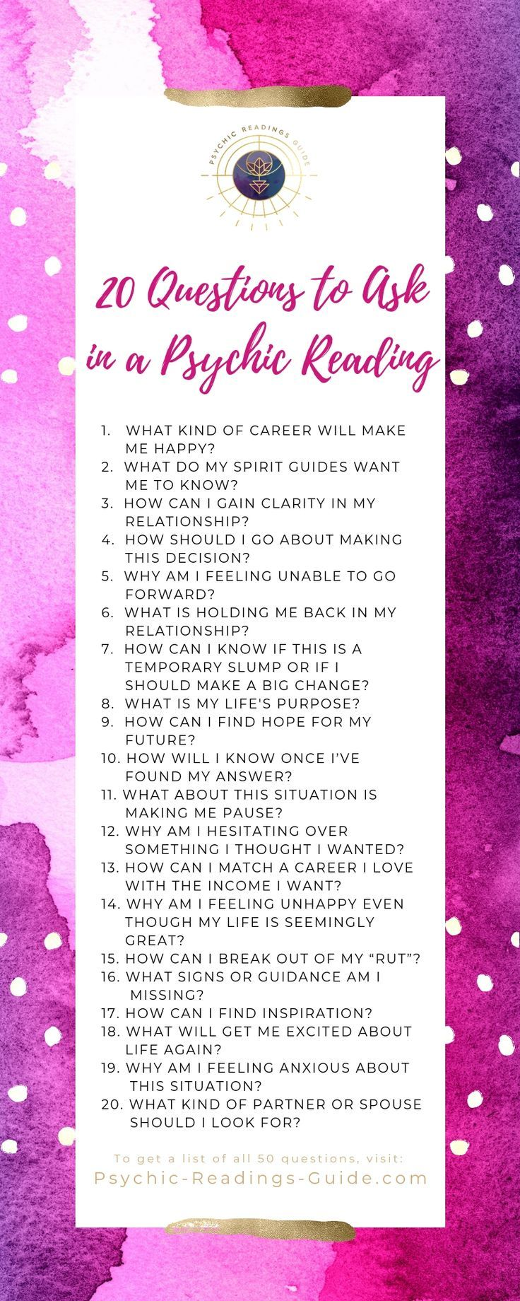 20 Questions to Ask in a Spiritual Psychic Reading   Love tarot ...