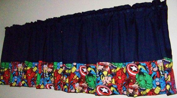 COLOR BLOCK  SUPERHERO Dark Navy Valance, Curtain Boys Room,  Window Treatment for  kid's   Room, 42 x 17 inches, Length include Rod Pocket.