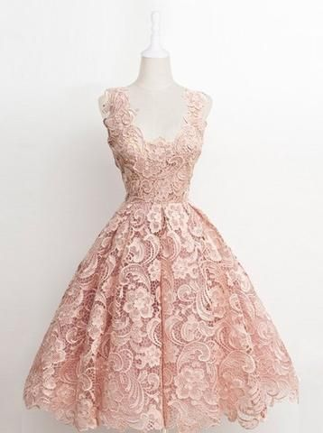 22f5504dce45 Vintage A-line Scalloped-Edge Knee-Length Lace Light Pink Prom Homecoming  Dress