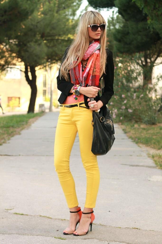 Yellow skinnies, coral orange top, black blazer and Zara orange/black shoes