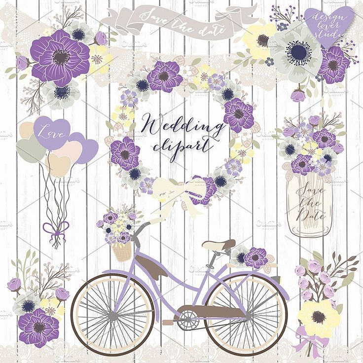 Vector Bicycle wedding clipart VintageClipArtpaper