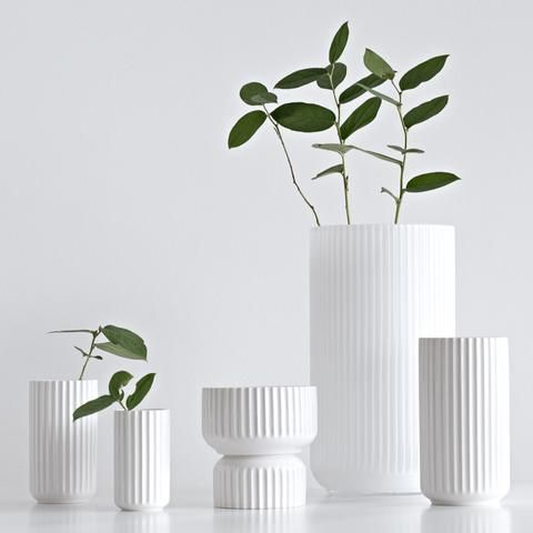 Lyngby vasen 7-pak 6, 9, 12, 15, 20, 25 og 35 cm hvid porcelæn