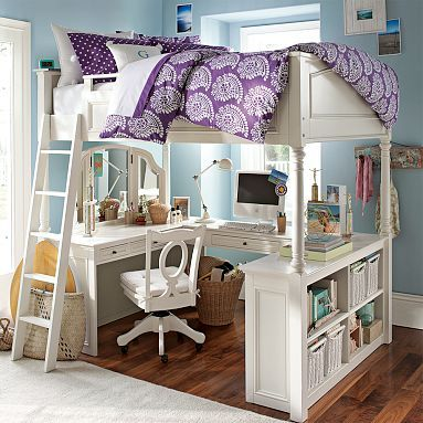 Vanity and a desk under a loft bed.  Genius.
