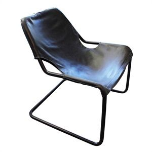 Black Leather Sling Armchair