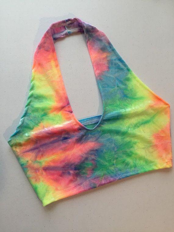 Tie Dye Velvet No-Tie Halter Top  ravewear tie dye by MiGente