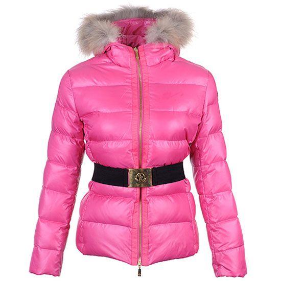 Moncler Kvinder Jakker Angers Belted Quilt Pink