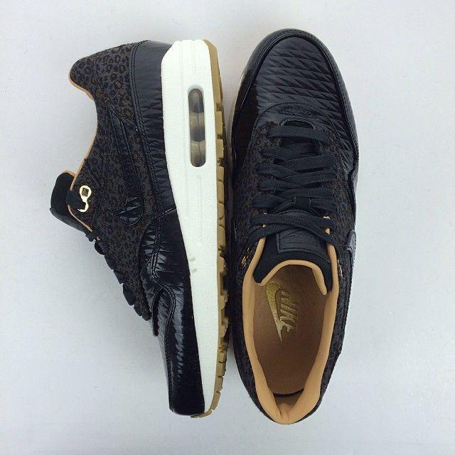 half off 4216d 33800 ... nike air max 1 fb woven leopard black metallic gold sneakers pinterest nike  nike air and