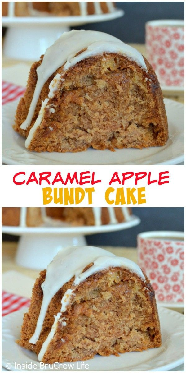 Caramel Apple Bundt Cake - fresh apples, caramel bits, and a creamy glaze make this a delicious fall dessert recipe!