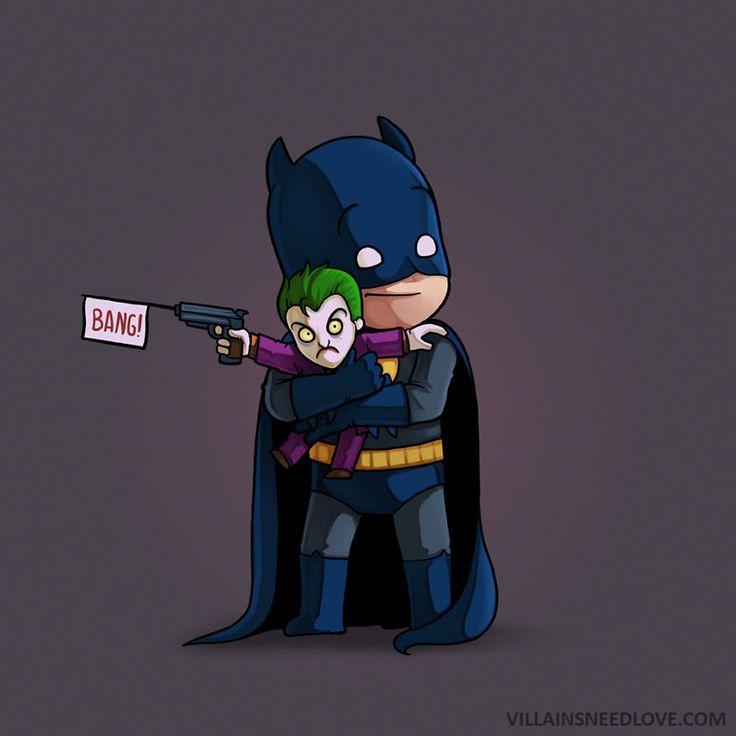 """Confira o projeto Villains Need Love, do ilustrador Naolito, que mostra a """"reconciliação"""" de heróis e vilões por meio de um abraço (forçado) e muito amor."""