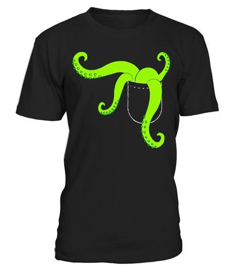 Green Alien Octopus Tentacles Faux Pocket T-Shirt Halloween . Special  Offer, not