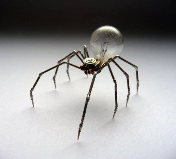 Mechanical Spider Sculpture No 4 Recycled Watch Parts Clockwork Arachnid Figurine Stems Lightbulb Arthropod A Mechanical Mind Halloween. $180.00, via Etsy.