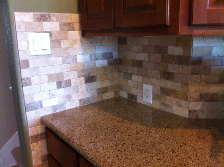 Multi Colored Tumbled Travertine Backsplash Tile Tile