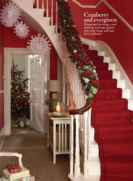 Christmas staircase ~ love the red stair runner.