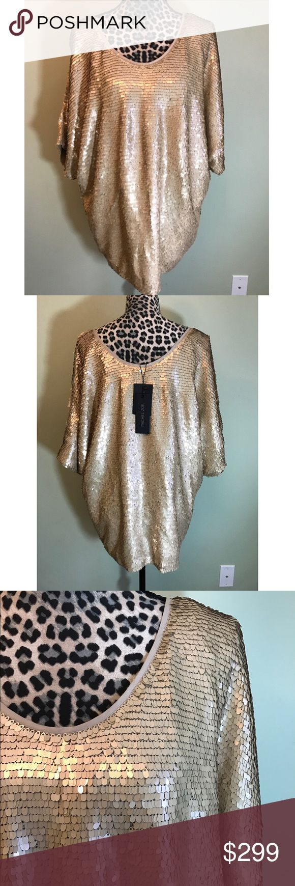 🆕💛Amazing gold sparkling top!! NWT $350 retail Gorgeous gold sparkling Rachel Zoe top. New with tag. Has some weight to it due to all the sequins. $350 retail. Rachel Zoe Tops