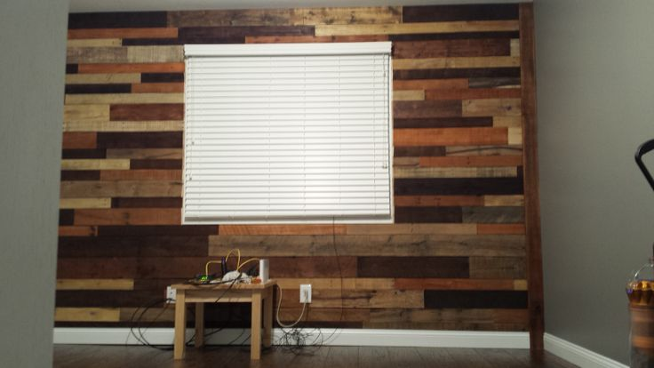 Laminate Accent Wall : Office remodel before and after used pallet wood for an